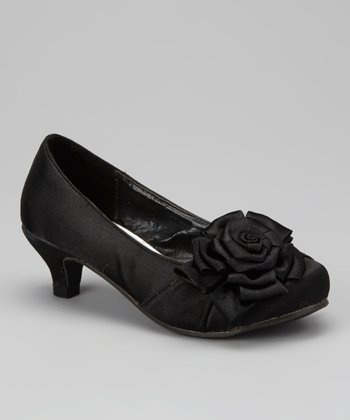 Black Pretty-100 Rose Kitten Heel