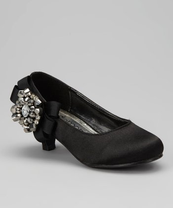 Black Bow Pretty Kitten Heel