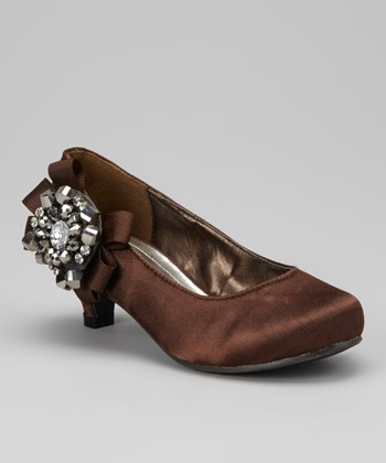 Brown Bow Pretty Kitten Heel