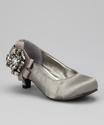 Gray Pretty Bow Kitten Heel