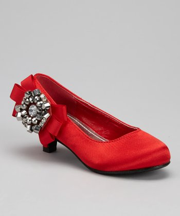 Red Bow Pretty Kitten Heel