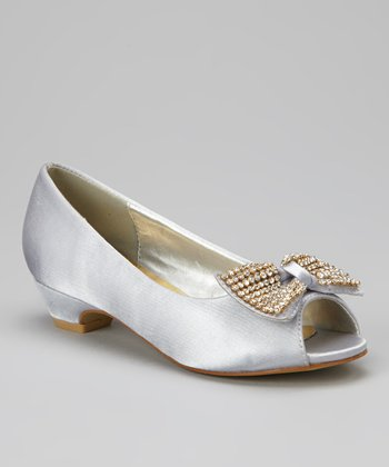 Gray Charm Peep-Toe Pump