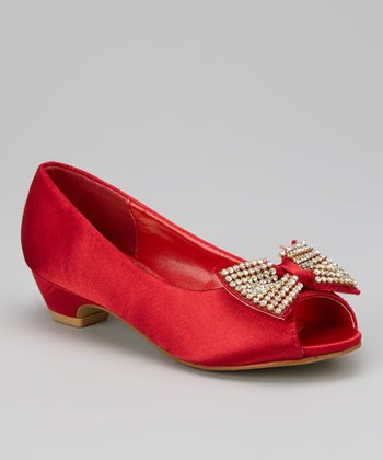 Red Charm-1 Peep-Toe Flat