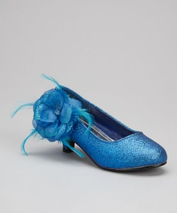 Blue Glitter Flower Kitten Heel
