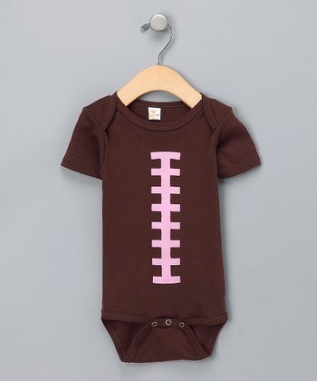Brown & Pink Football Bodysuit - Infant