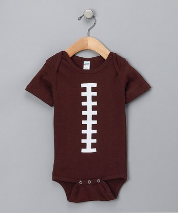Brown & White Football Bodysuit - Infant