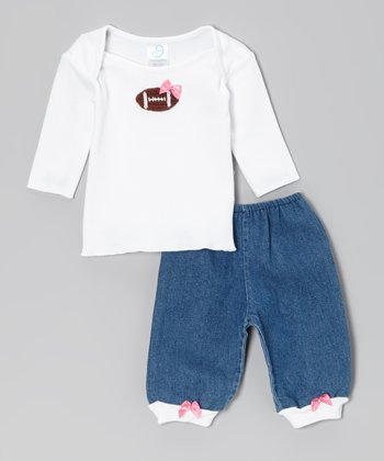 White Bow Football Lap Neck Tee & Denim Bow Pants - Infant