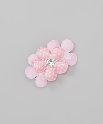 Pink Polka Dot Gem Flower Clip