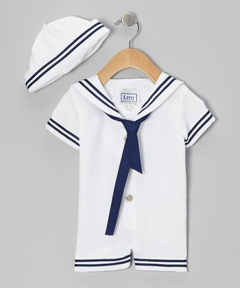 White & Navy Sailor Romper & Beanie - Infant