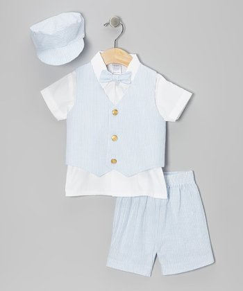 Light Blue Seersucker Stripe Vest Set - Infant