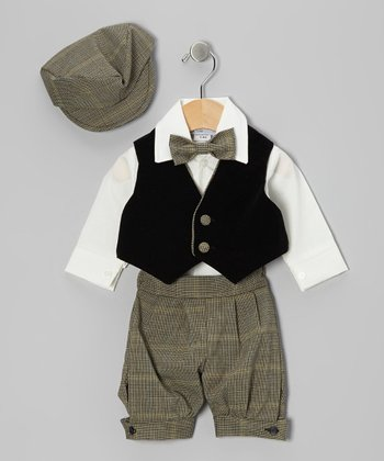 Black & Brown Plaid Knickers Set - Infant