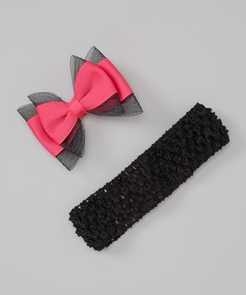 Black Headband & Hot Pink Bow