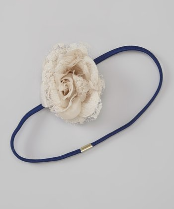 Navy & Ivory Flower Skinny Headband