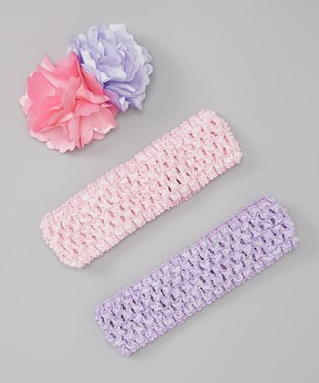 Pink & Lavender Flower Headband Set