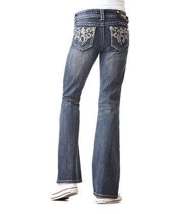 Dark Wash Lattice Swirl Bootcut Jeans - Girls