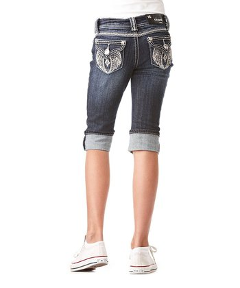 Dark Wash Wing Cross Denim Capri Pants - Girls
