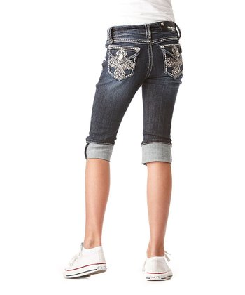 Dark Wash Cross Cuffed Denim Capri Pants