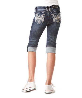 Medium Wash Wing Cross Denim Capri Pants - Girls