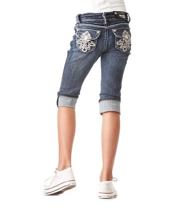 Dark Wash Fleur-de-Lis Denim Capri Pants