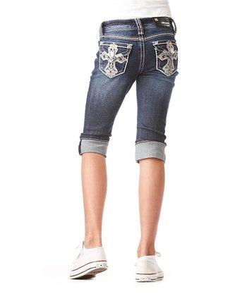 Dark Wash Swirl Cross Denim Capri Pants