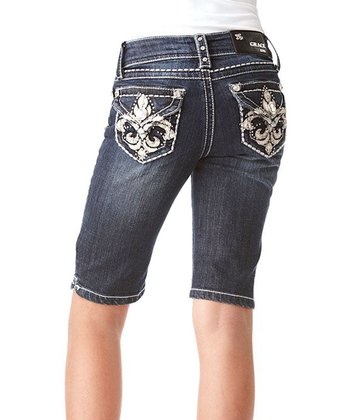 Dark Wash Fleur-de-Lis Denim Bermuda Shorts - Girls