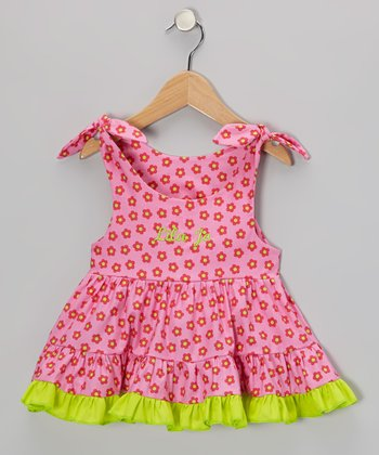 Hot Pink & Lime Flower Personalized Ruffle Dress - Infant, Toddler & Girls