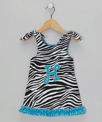 Zebra & Turquoise Initial Dress - Infant, Toddler & Girls