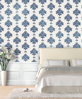 Navy Ikat Wallpaper Decal