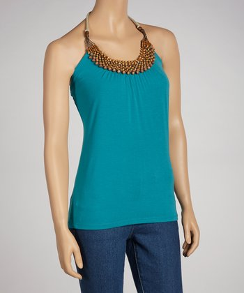 Turquoise Beaded Halter Top