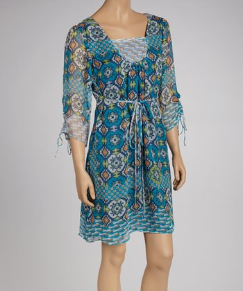 Blue Patchwork Floral Dress