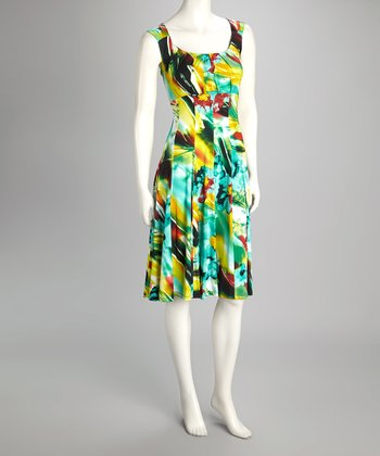 Green Floral Empire-Waist Dress