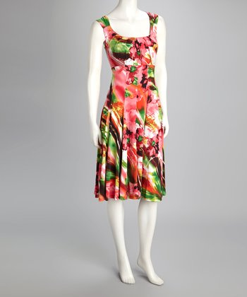 Pink Floral Empire-Waist Dress