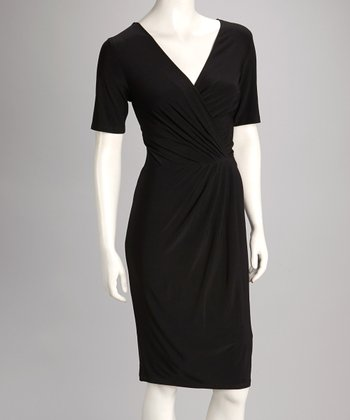 Black Surplice Short-Sleeve Dress