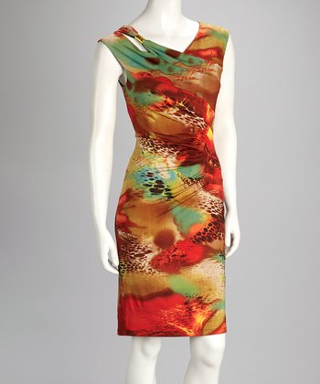 Orange Abstract Pleated Dress