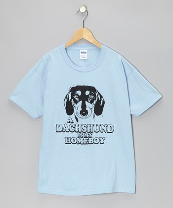 Light Blue 'Dachshund Is My Homeboy' Tee - Kids & Adults
