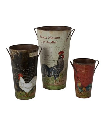 French Rooster Bucket Set