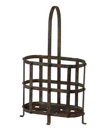 Rust Three-Bottle Iron Wine Holder