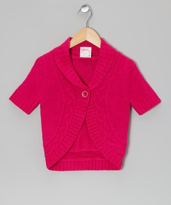 Pink Cable-Knit Cardigan - Girls