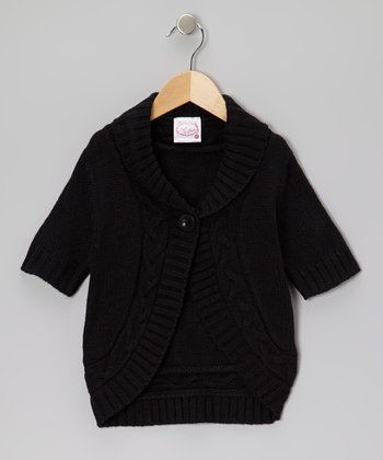 Black Cable-Knit Cardigan - Girls