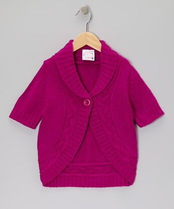 Purple Cable-Knit Cardigan - Girls