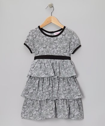 Gray Foliage Tiered Dress - Girls