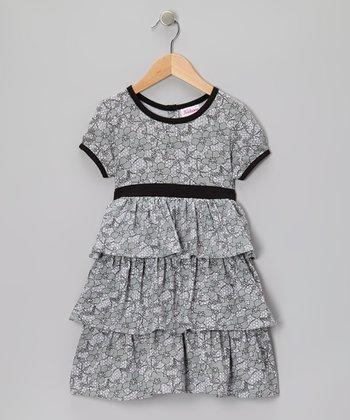 Gray Foliage Tiered Dress - Girls