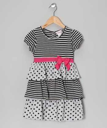 Black Stripe & Polka Dots Tiered Dress - Toddler