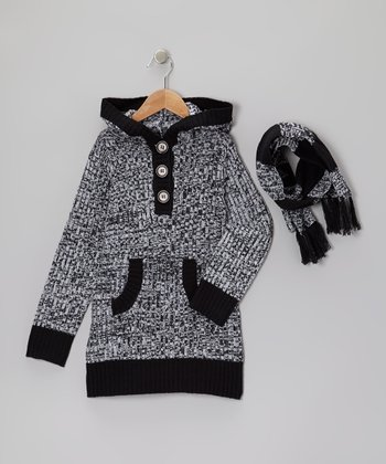 Black Stripe Hooded Sweater & Scarf - Girls