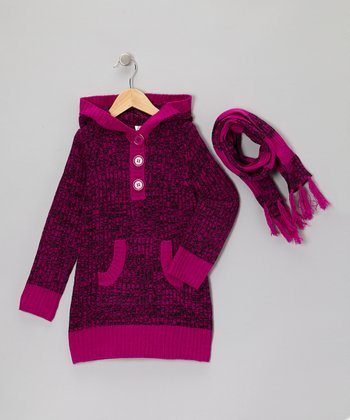 Purple Stripe Hooded Sweater & Scarf - Girls