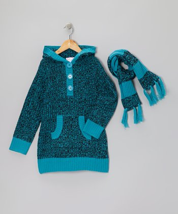 Teal Stripe Hooded Sweater & Scarf - Girls