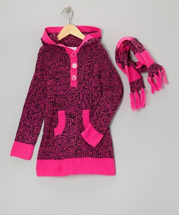 Pink Stripe Hooded Sweater & Scarf - Girls