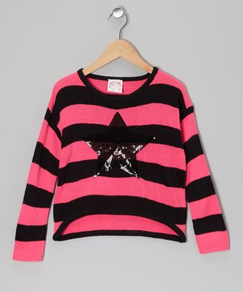 Pink Star Stripe Top - Girls