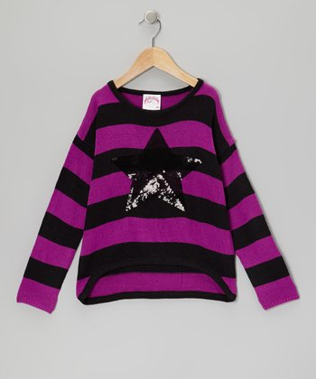 Violet Star Stripe Top - Girls