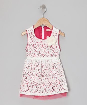 White & Fuchsia Floral Lace Dress - Toddler & Girls